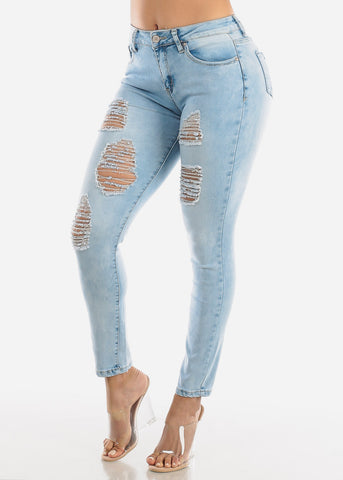 Image of Butt Lifting Ripped Acid Wash Skinny Jeans