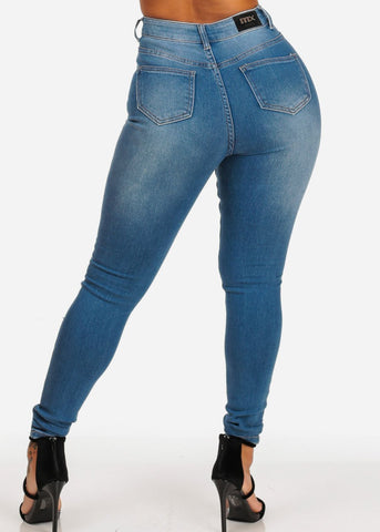 Women's Junior Ladies Ultra High Waisted Light Wash Distressed 1 Button Skinny Jeans