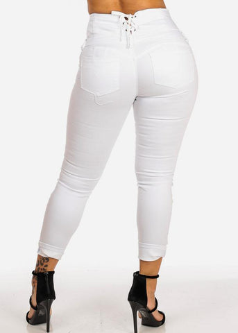 Image of High Rise Lace Up Back White Skinny Pants