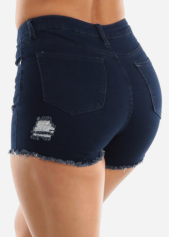 High Waisted Dark Navy Denim Shorts