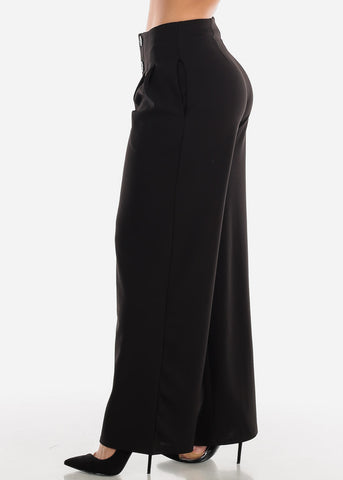 Image of High Rise Black Palazzo Trousers