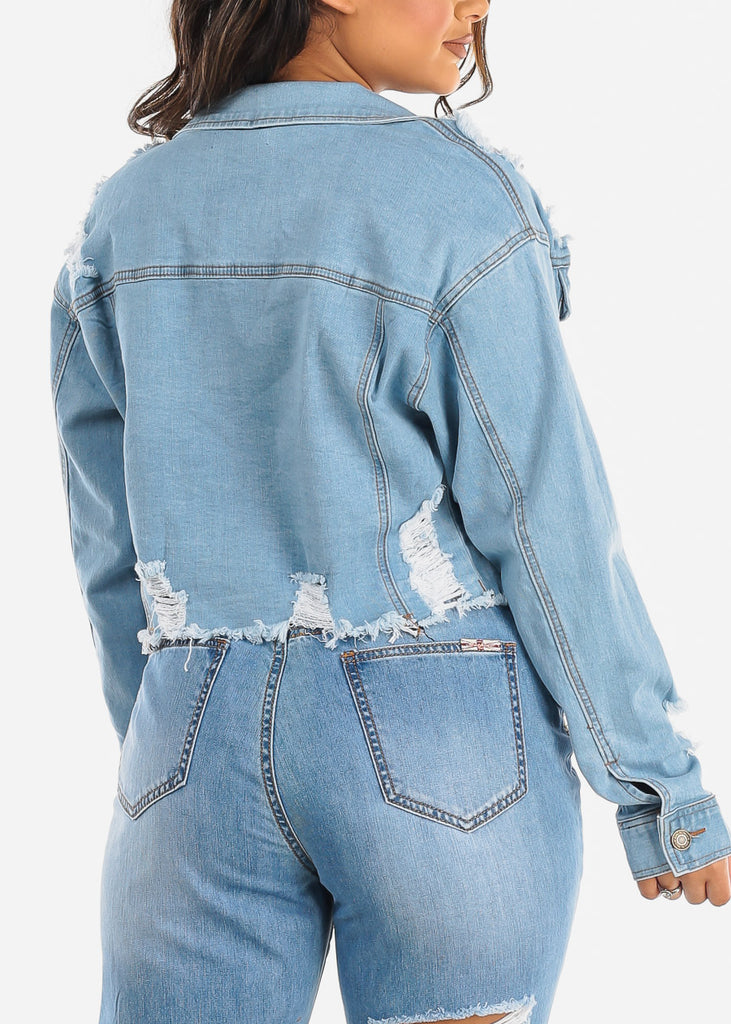 Light Wash Button Up Denim Jacket