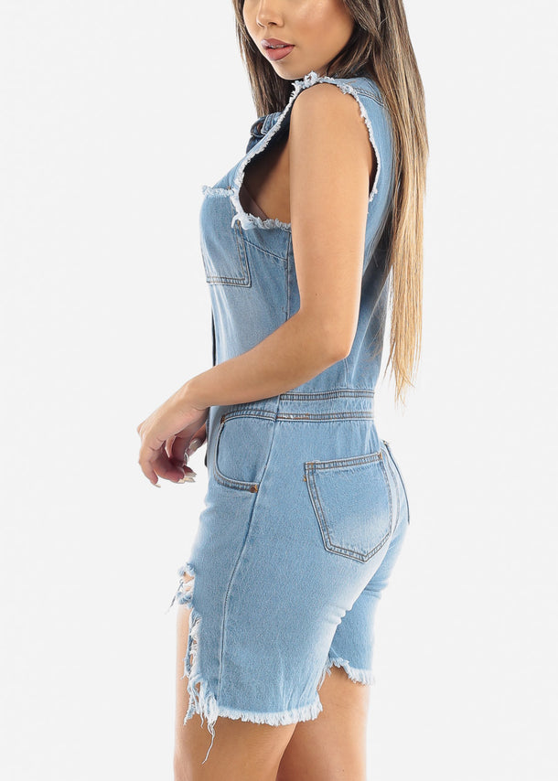Distressed Light Wash Denim Romper
