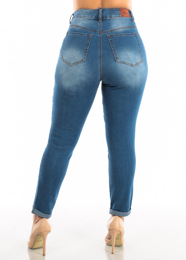 Plus Size High Waist Med Wash Jeans