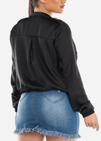 Long Sleeve Button Up Black Satin Silky Trendy Jacket For Women Ladies Junior