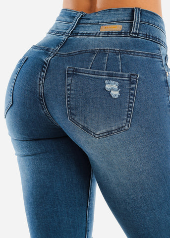 Image of Levanta Cola Med Wash Torn Skinny Jeans