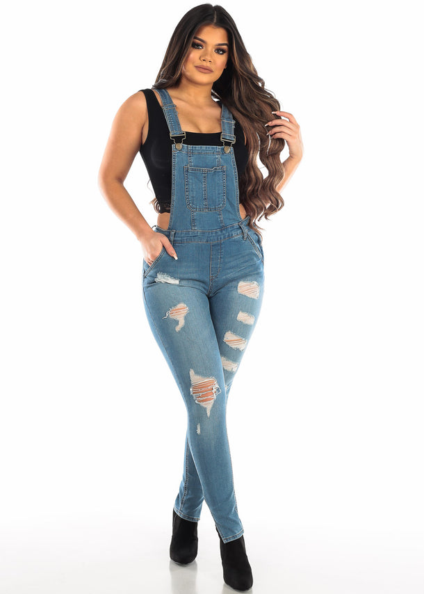 Light Wash Ripped Denim Overall