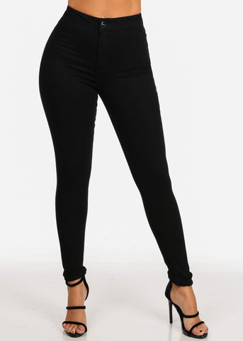 Image of Classic High Waisted 1 Button Stretchy High Waisted Solid Black Skinny Jeans