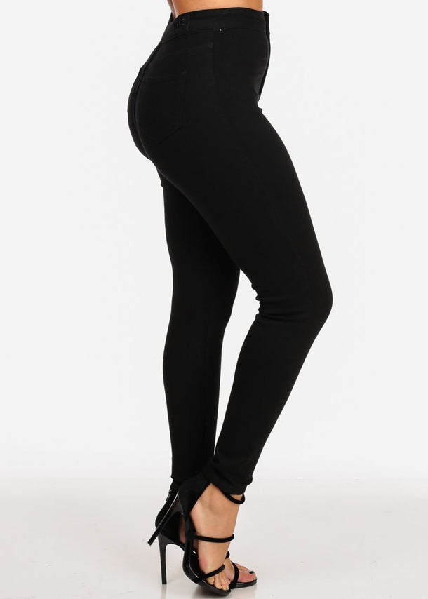 Classic High Waisted 1 Button Stretchy High Waisted Solid Black Skinny Jeans