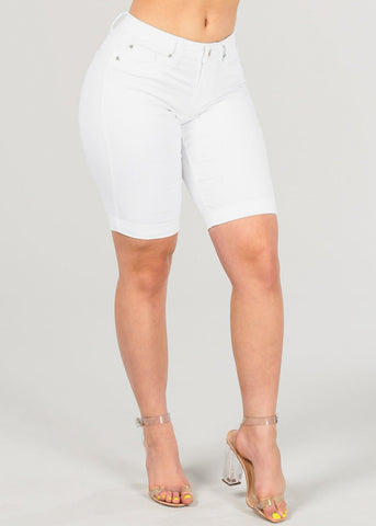 Women's Junior Ladies Stylish Stretchy Mid Waist Pure Solid White Bermuda Shorts