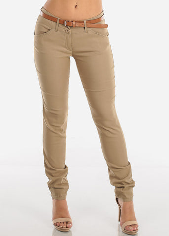Khaki Dressy Pants With Belt