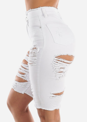 Image of Double Sided Distressed White Bermuda Shorts