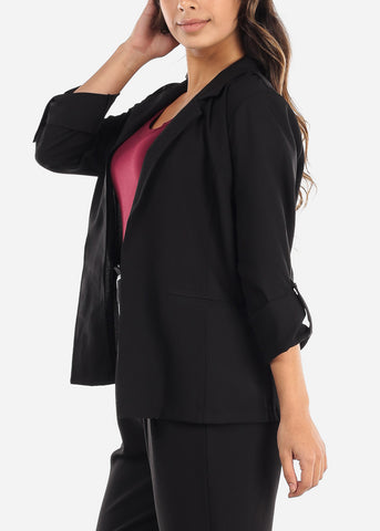 Image of Classic Open Front Black Blazer
