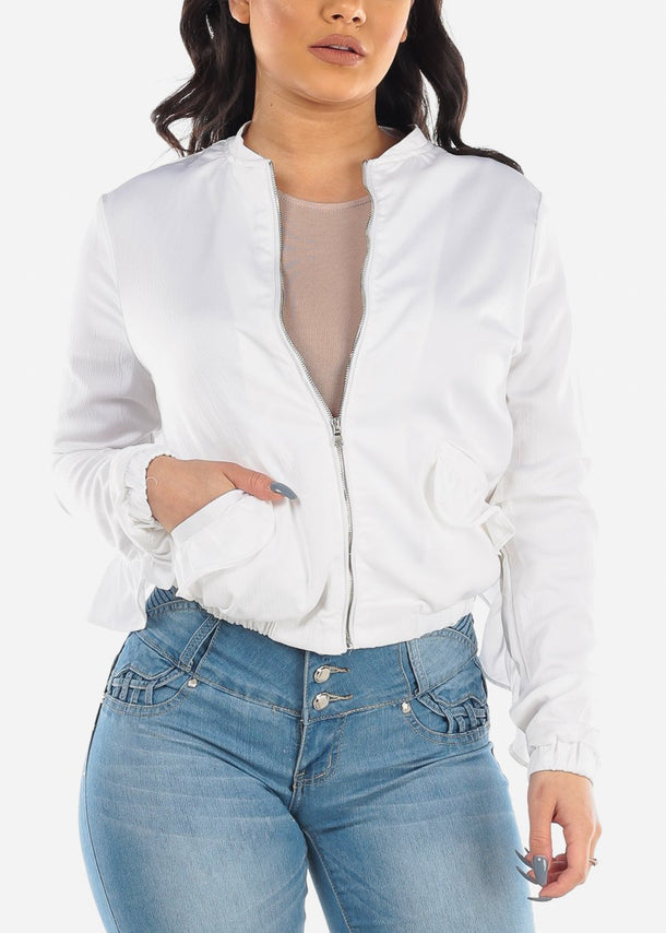 White Satin Jacket with Ruffles