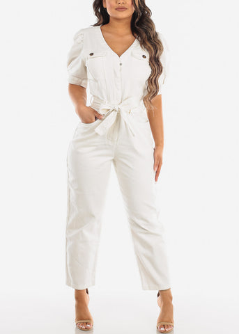 Image of Belted White Cotton Jumpsuit