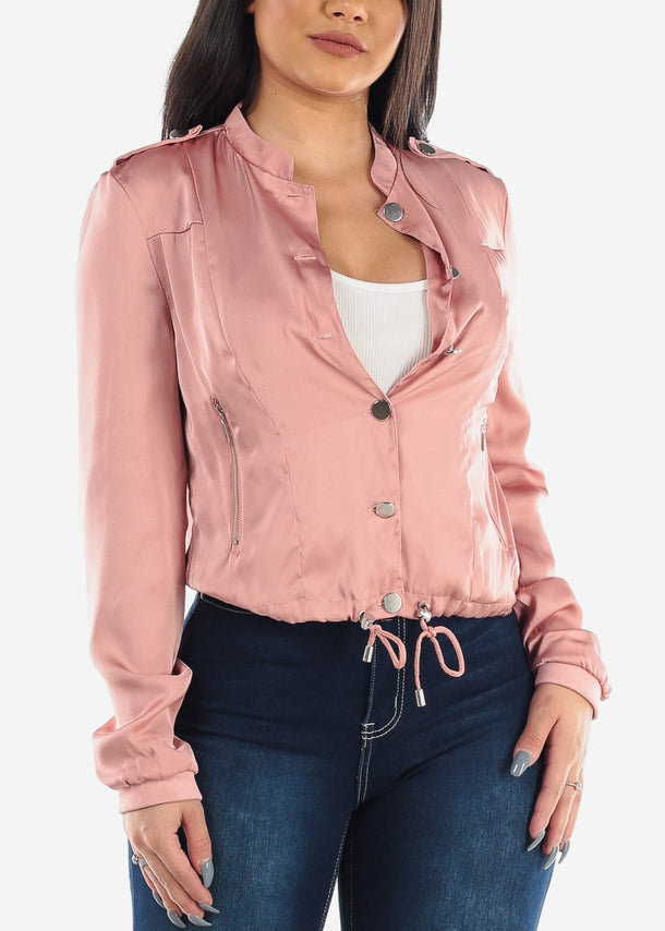 Long Sleeve Button Up Rose Pink Satin Silky Trendy Jacket For Women Ladies Junior