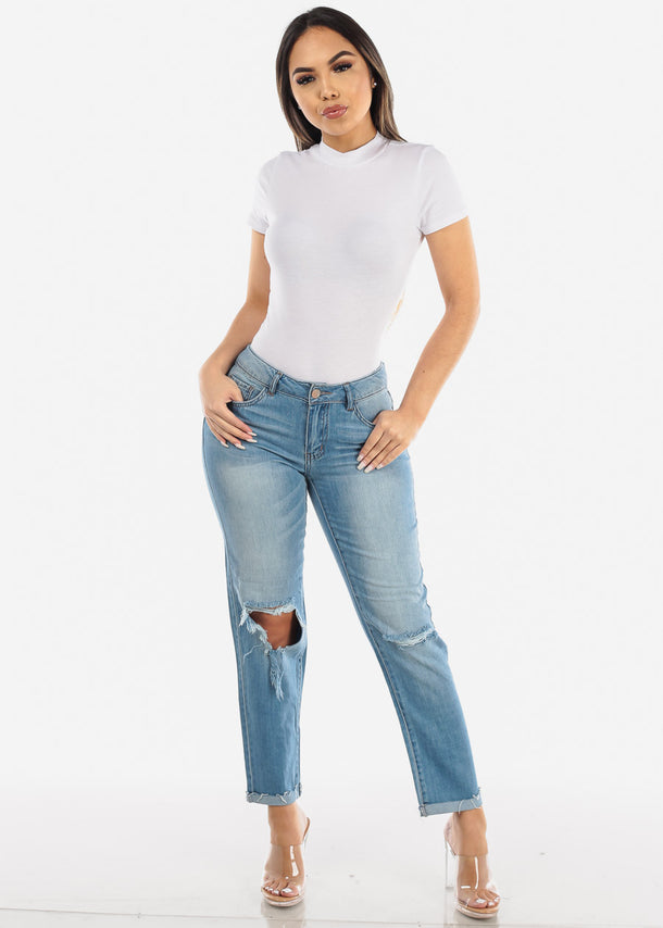 Ripped Knee Light Wash Boyfriend Jeans