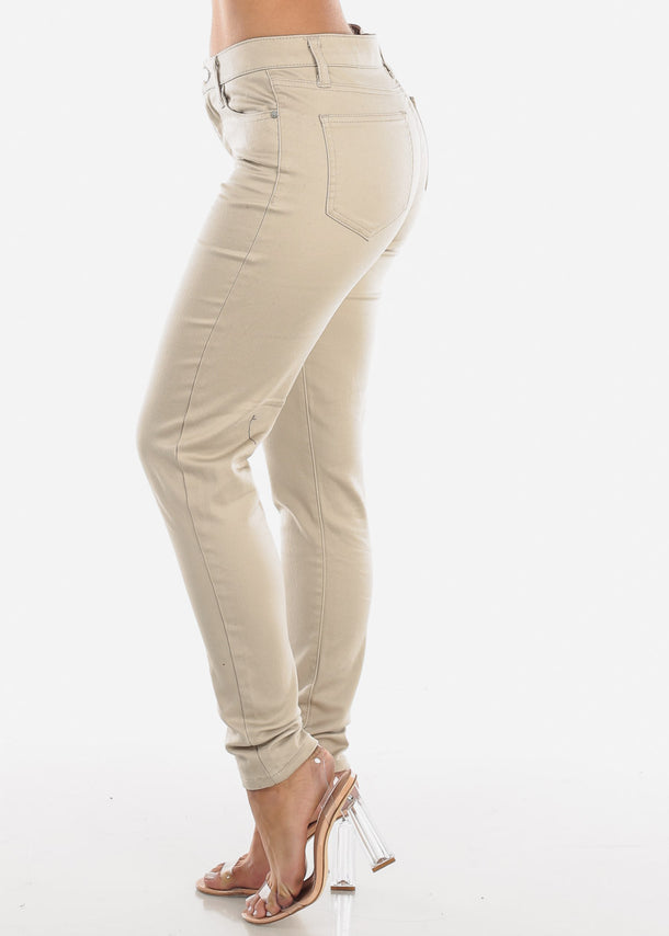 High Rise Beige Skinny Pants