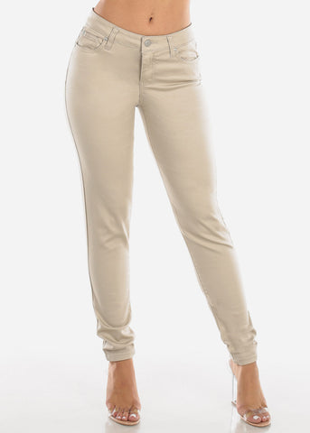 Image of High Rise Beige Skinny Pants
