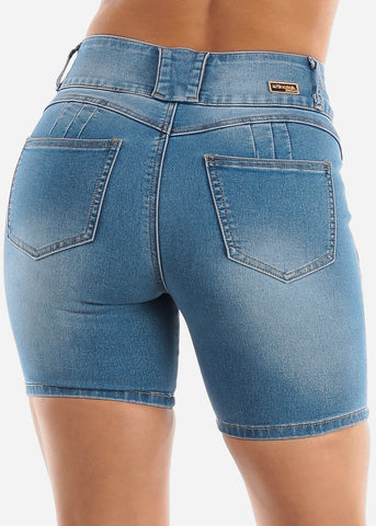 Image of High Waisted Butt Lifting Light Denim Shorts
