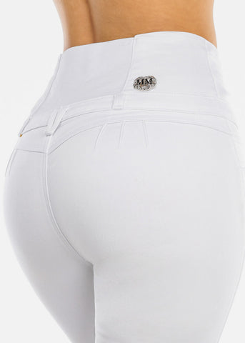 Ultra High Rise Butt Lifting White Skinny Jeans