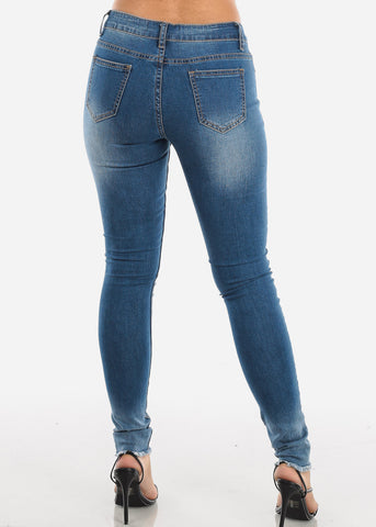 Raw Hem Distressed Skinny Jeans