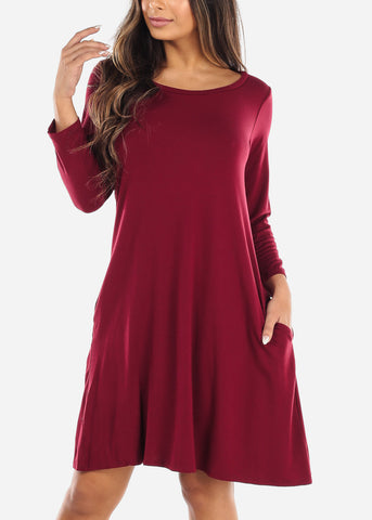 Red Swing Dress With Pockets