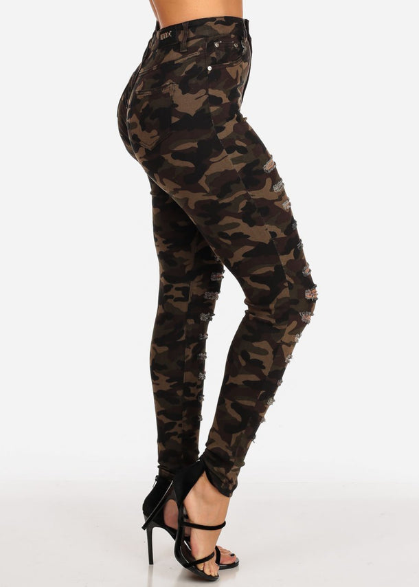 High Rise Ripped Camo Skinny Jeans