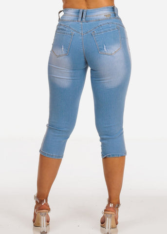 Women's Junior Ladies Teen Must Have 2 Button Light Wash Stretchy Butt Lifting Denim Capris