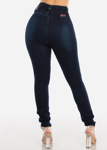 Image of High Waisted Butt Lifting Dark Wash Skinny Jeans