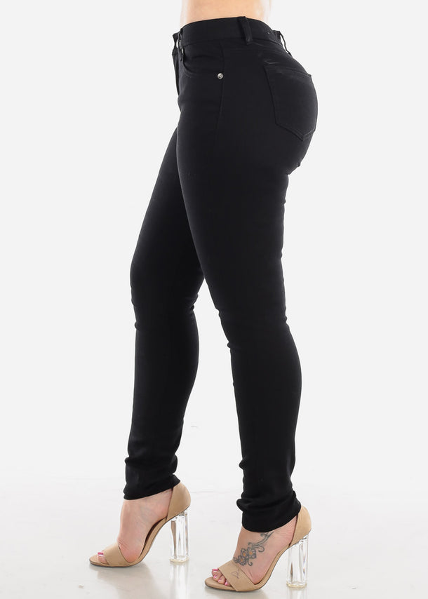 Classic Black One Button Skinny Jeans