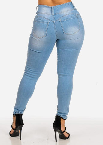 Affordable Butt Lifting Mid Rise Light Wash Skinny Jeans