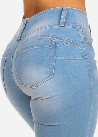 Image of Butt Lifting Mid Rise Light Wash Skinny Jeans