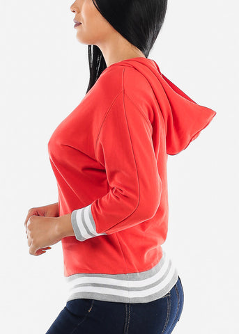 3/4 Sleeve Red Pullover Sweatshirt
