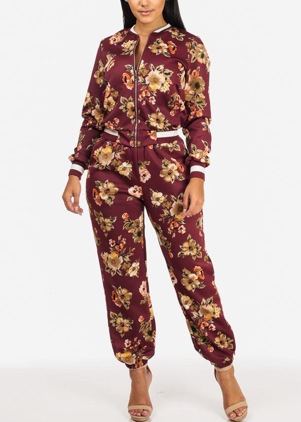 Wine Floral Zip Up Jacket