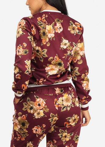 Image of Wine Floral Zip Up Jacket