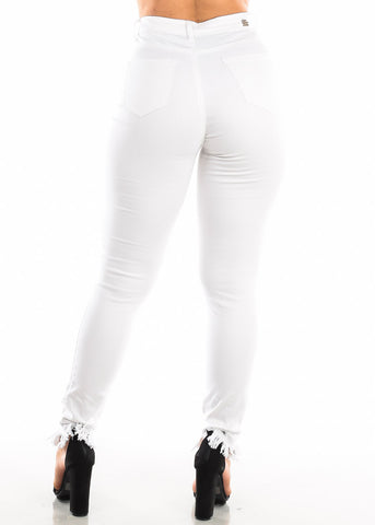 Image of High Waisted Torn White Skinny Jeans