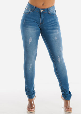 Classic 1 Button Light Wash Skinny Jeans