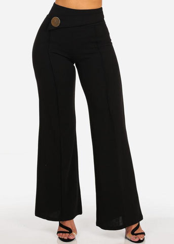 High Rise Wide Leg Black Pants