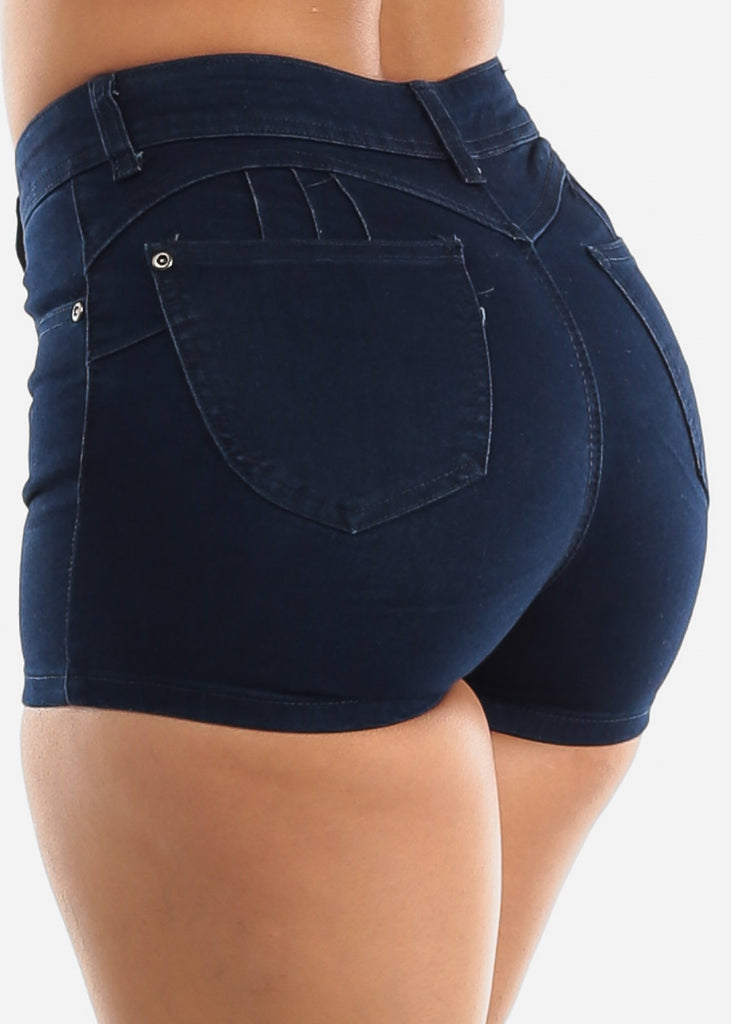Butt Lifting Dark Navy Denim Shorts