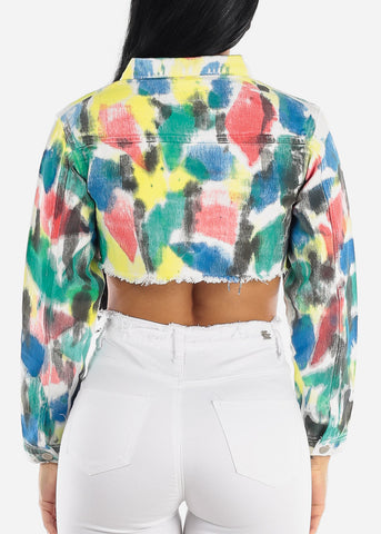 Tie Dye Cropped Denim Jacket