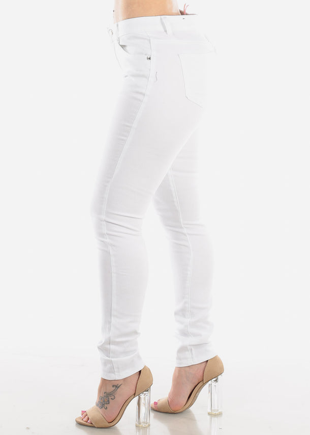 Classic White One Button Skinny Jeans