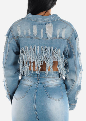 Image of Distressed Light Wash Crop Jacket