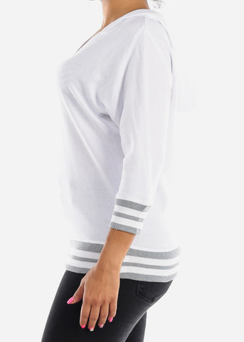 3/4 Sleeve White Pullover Sweatshirt
