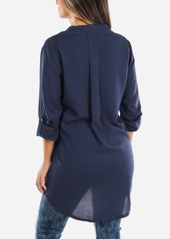 Image of Rolled Sleeve Navy Button Down Blouse ETW50102NVY