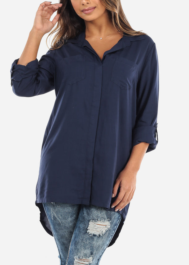 Rolled Sleeve Navy Button Down Blouse ETW50102NVY