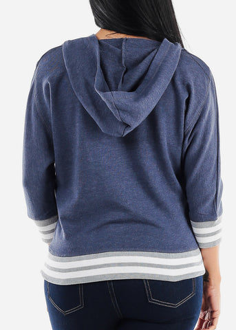 Image of 3/4 Sleeve Navy Pullover Sweatshirt