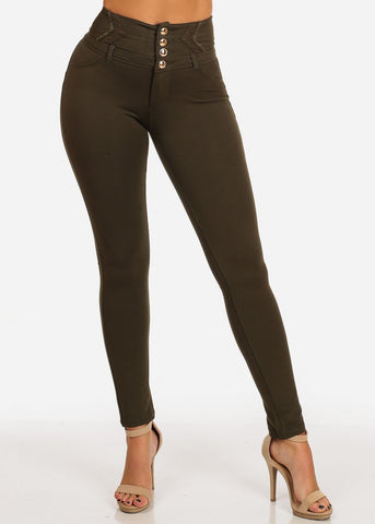 Image of Stylish Fashionable High Rise 3 Gold Button Butt Lifting Levanta Cola Olive Skinny Pants