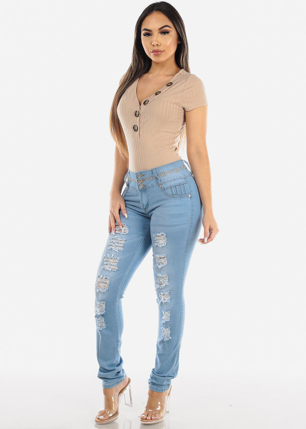 Ripped Push Up Light Wash Skinny Jeans