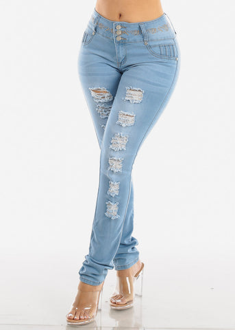 Ripped Levanta Cola Light Wash Skinny Jeans